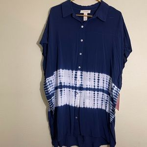 Onetheland Blue Tie Dye Cap Sleeve Tunic Cover L